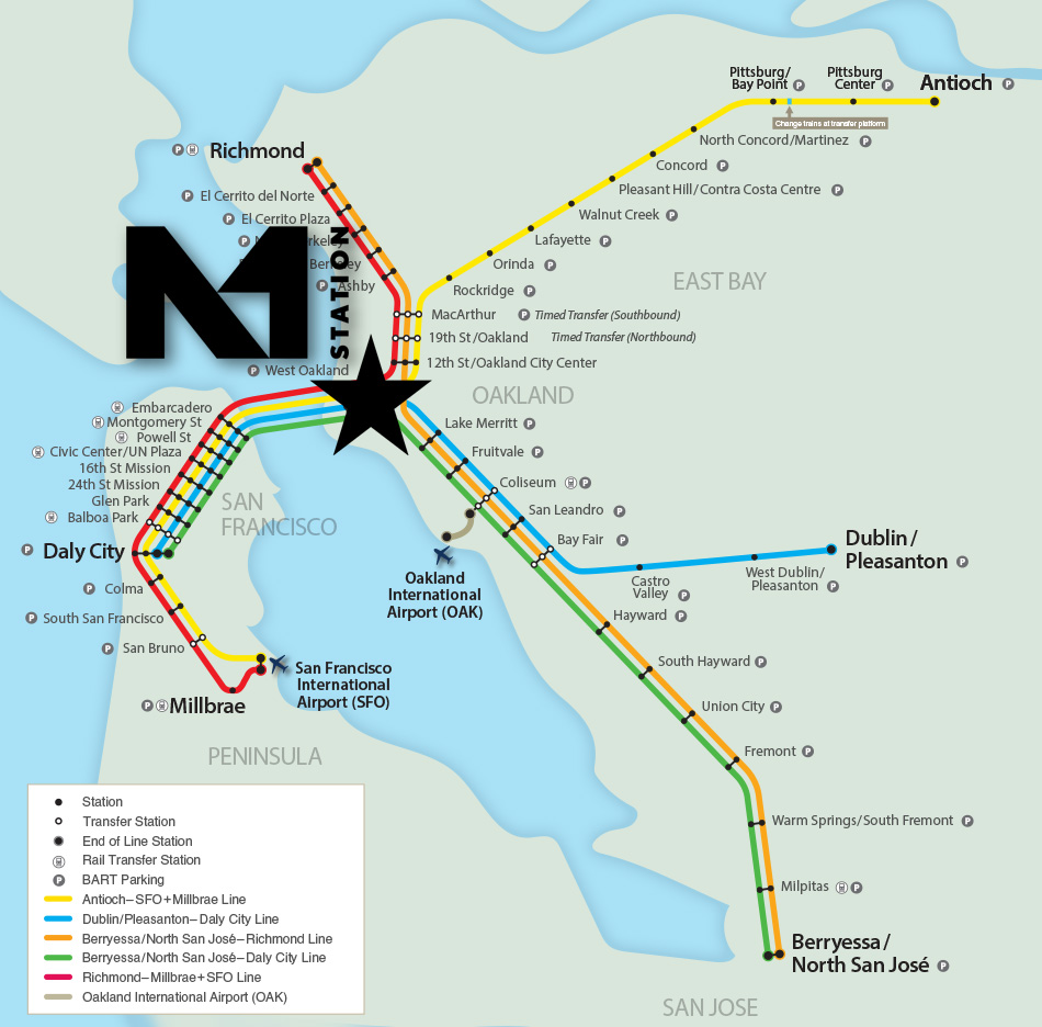 bart map with west oakland hilighted